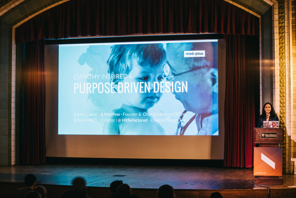 Amy Cueva, Founder of Mad*Pow, starts the day with her keynote talk on 'Purpose Driven Design'