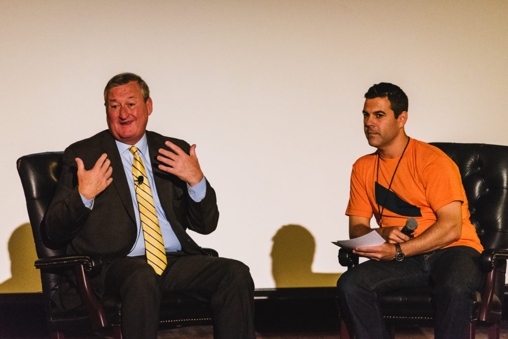 Mayor Jim Kenney and CEO Keith Scandone address the audience during their Q&A at Forge
