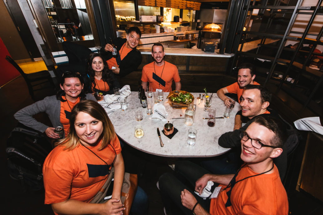 After a great day at Forge, volunteers celebrate at the Zavino after party
